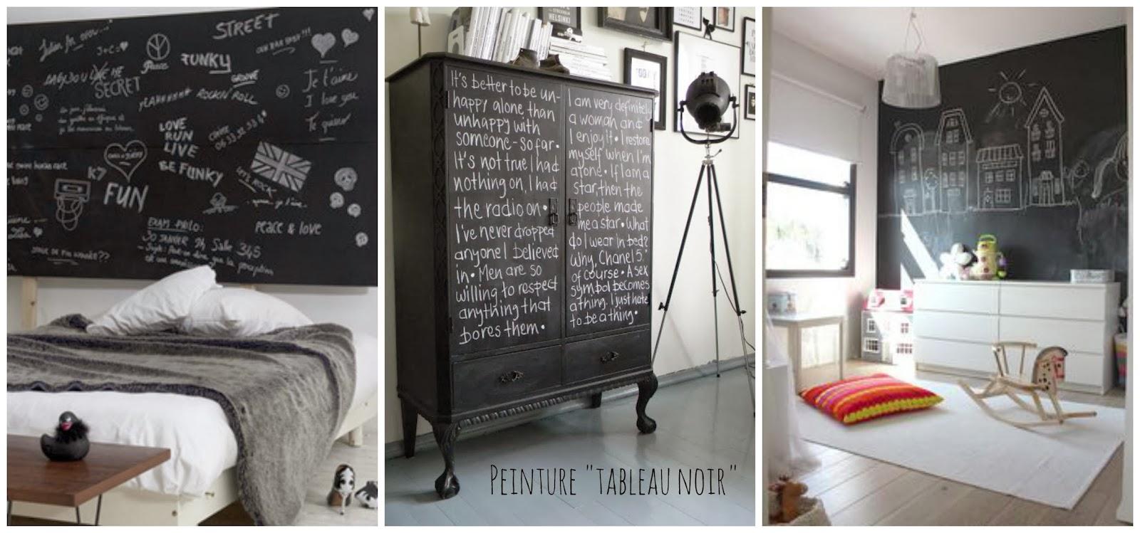 la peinture tableau noir une d coration pratique et design mysweetdeco. Black Bedroom Furniture Sets. Home Design Ideas